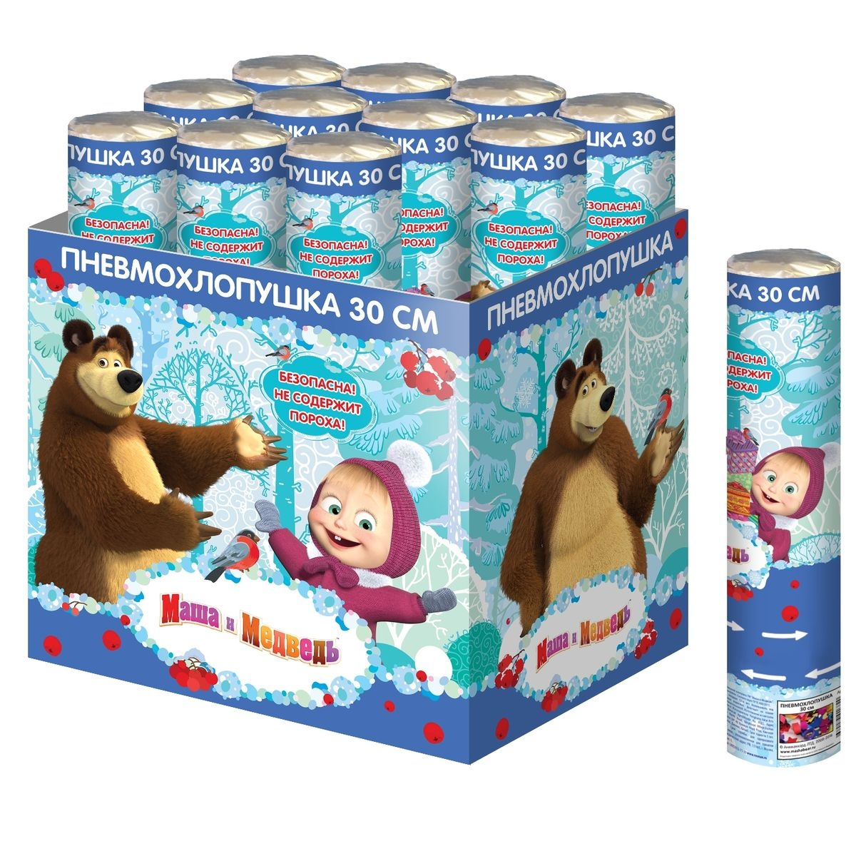 Декор Маша и Медведь Хлопушка-конфетти Маша и Медведь 30 см кукла маша в красном сарафане маша и медведь