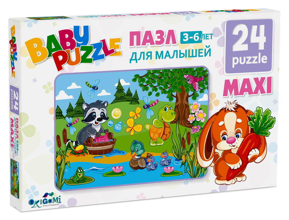 Пазлы Origami Пазл Baby puzzle «Большая стирка» 24 эл. cartoon educational puzzle wooden kids toys developmental wood toy montessori jigsaw puzzle speelgoed games for children 60d0037
