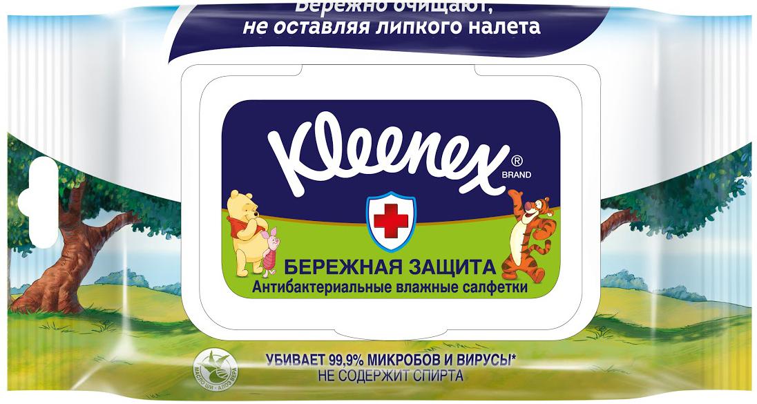 Прокладки и салфетки Kleenex Влажные салфетки Protect Disney антибактериальные с крышкой (40 шт.) салфетки влажные kleenex антибактриальные 40 шт влажная гипоаллергенные 9440102