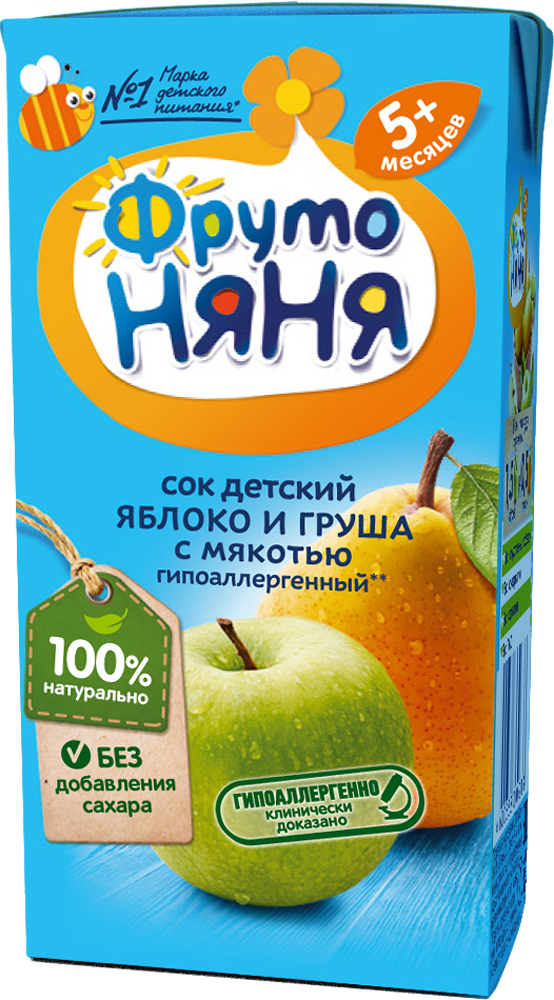 Сок Прогресс ФрутоНяня Яблоко и груша с мякотью с 5 мес. 200 мл сок фрутоняня яблоко и абрикос с мякотью с 3 лет 500 мл