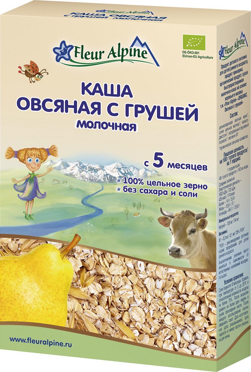 Каша Fleur Alpine Fleur Alpine Молочная овсяная с грушей (с 5 месяцев) 200 г fleur alpine organic каша на козьем молоке овсяная с 5 месяцев 200 г