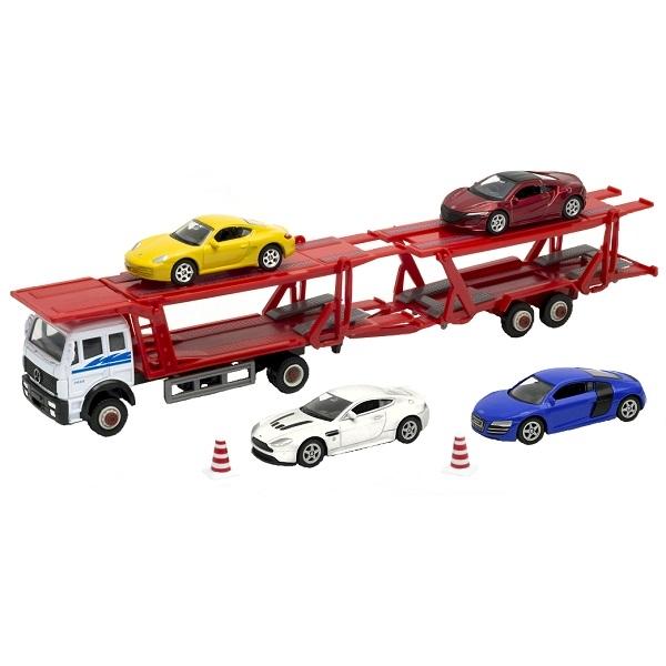 Набор Welly Автовоз с 4 спортивными машинами 79781B