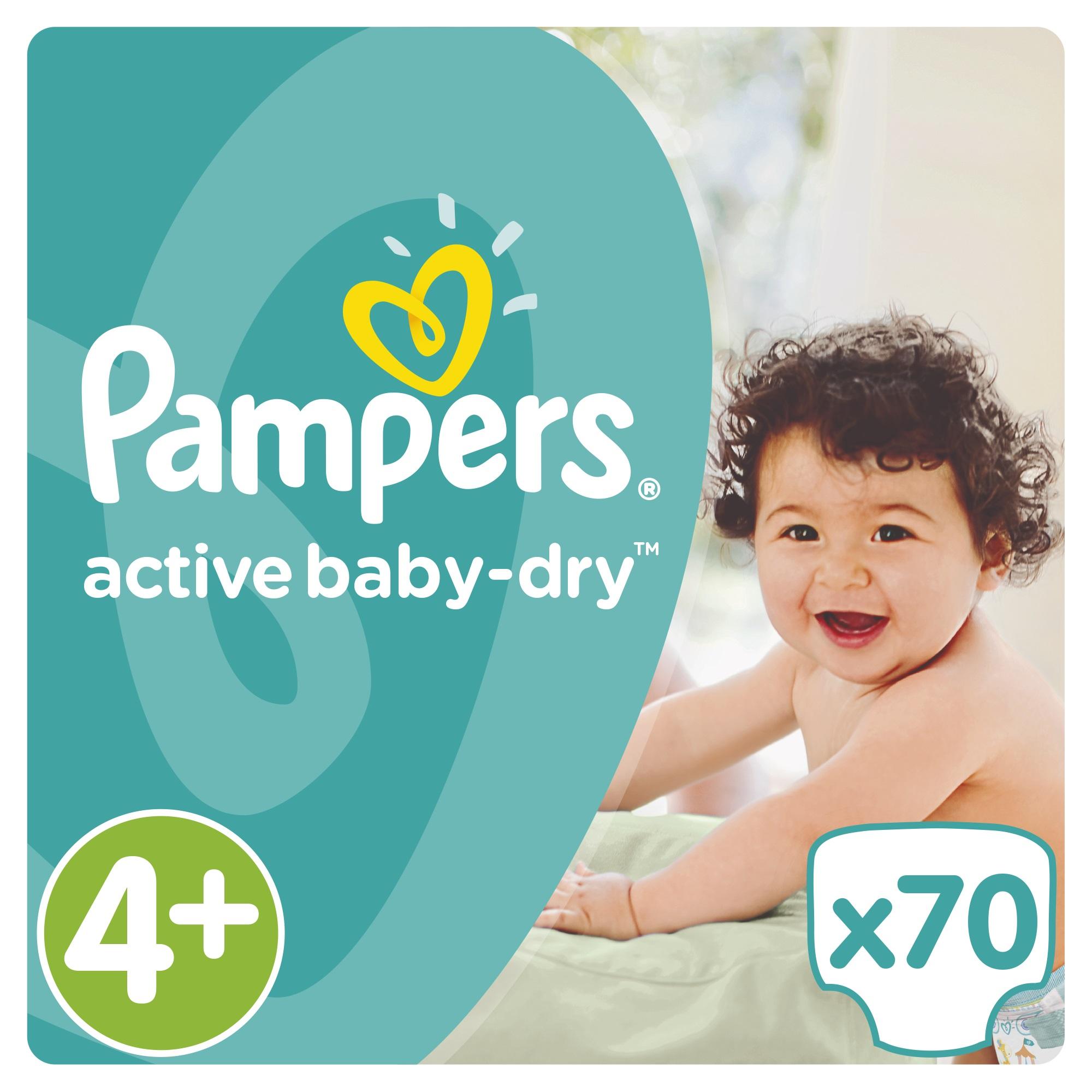 Купить Подгузники, Active Baby-Dry 4+ (9-16 кг) 70 шт., Pampers, Россия