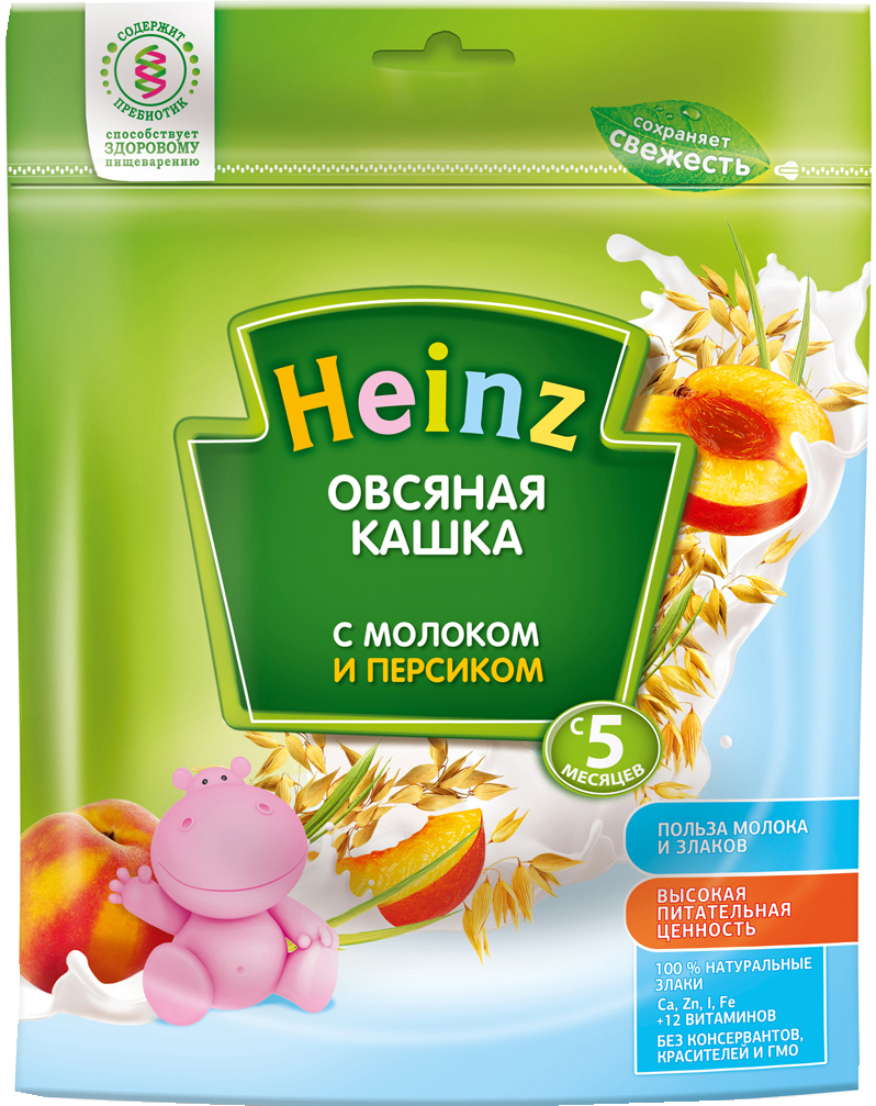 Каши Heinz Каша молочная Heinz овсяная персик с 5 мес. 250 г каши heinz молочная лакомая пшеничная каша абрикос персик вишенка с 5 мес 200 г