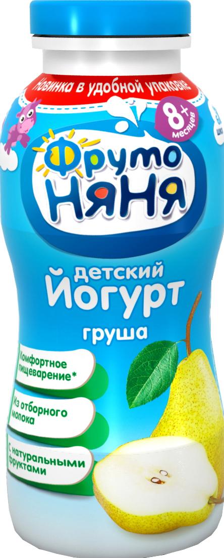 Йогурт Фрутоняня ФрутоНяня питьевой Груша 2,5% с 8 мес. 200 мл молочно овсяная с бананом с пребиотиками жидкая с 6 мес 200 мл