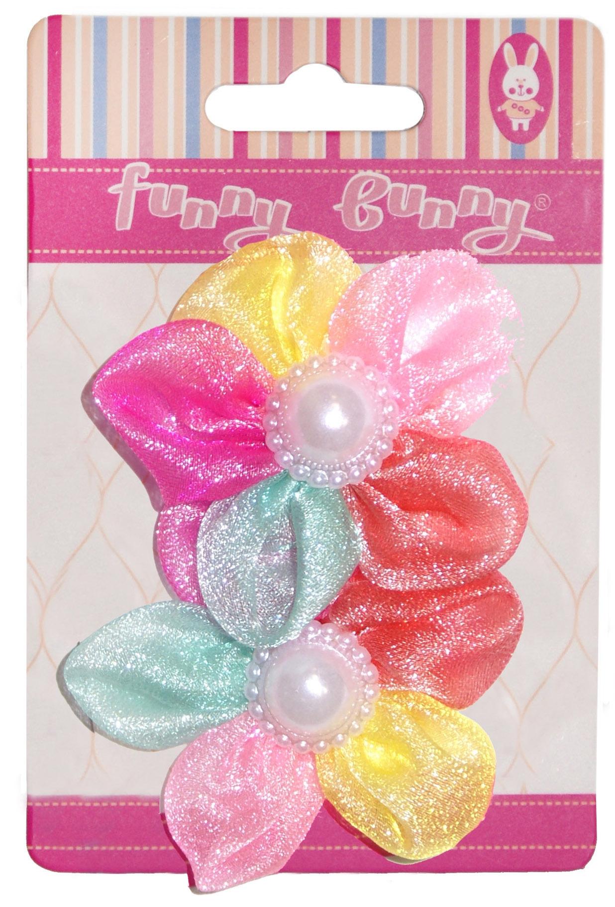 Украшения Funny Bunny Резинка для волоc Funny Bunny текстиль большая 2 шт. в ассортименте невидимка для волос funny bunny розовые цветы 2 шт