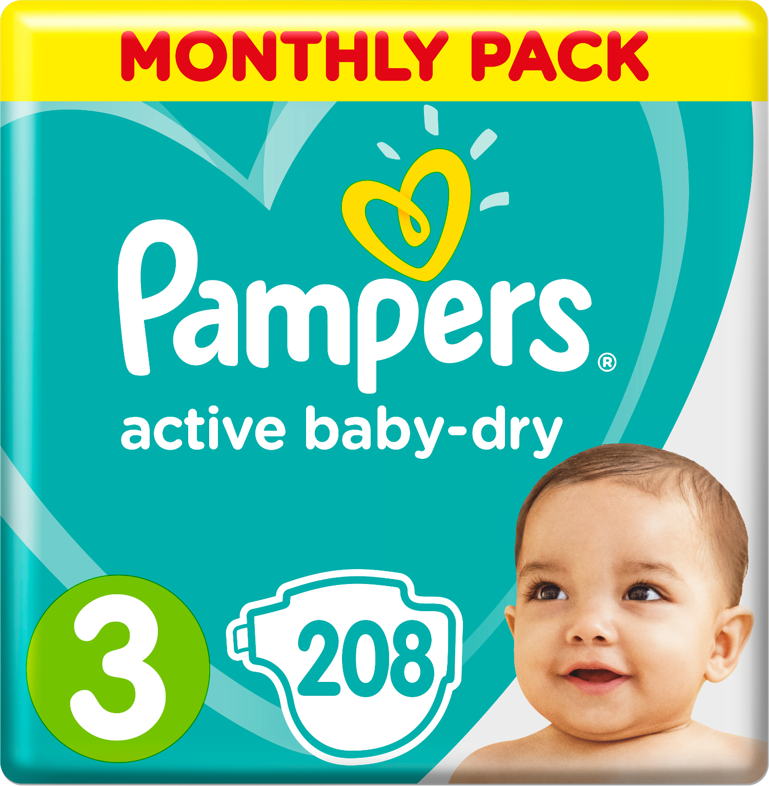 Подгузники Procter & Gamble Pampers Active Baby-Dry 3 (6-10 кг) 208 шт. подгузники pampers new baby dry mini 3 6 кг 94 шт