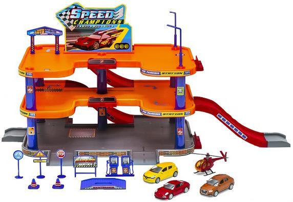 Игровой набор Welly Гараж с 3 машинами и вертолетом 96050 недорого