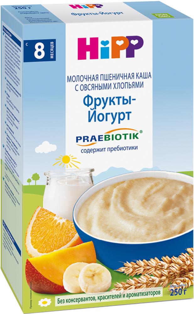 Каша HIPP Каша HiPP молочная пшеничная с овсяными хлопьями, фруктами и йогуртом с пребиотиками (с 8 месяцев) 250 г овощное hipp hipp брокколи с 4 месяцев 80 г