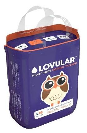 Купить Подгузники-трусики, ночные L (9-14 кг), Lovular, Великобритания, темно-фиолетовый