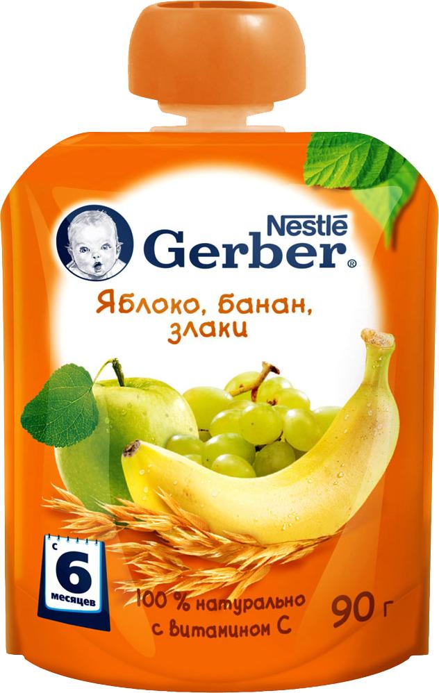 Фруктовое Gerber Gerber Яблоко, банан, злаки (с 6 месяцев) батончик gerber doremi 25 гр яблоко и банан с 12 мес