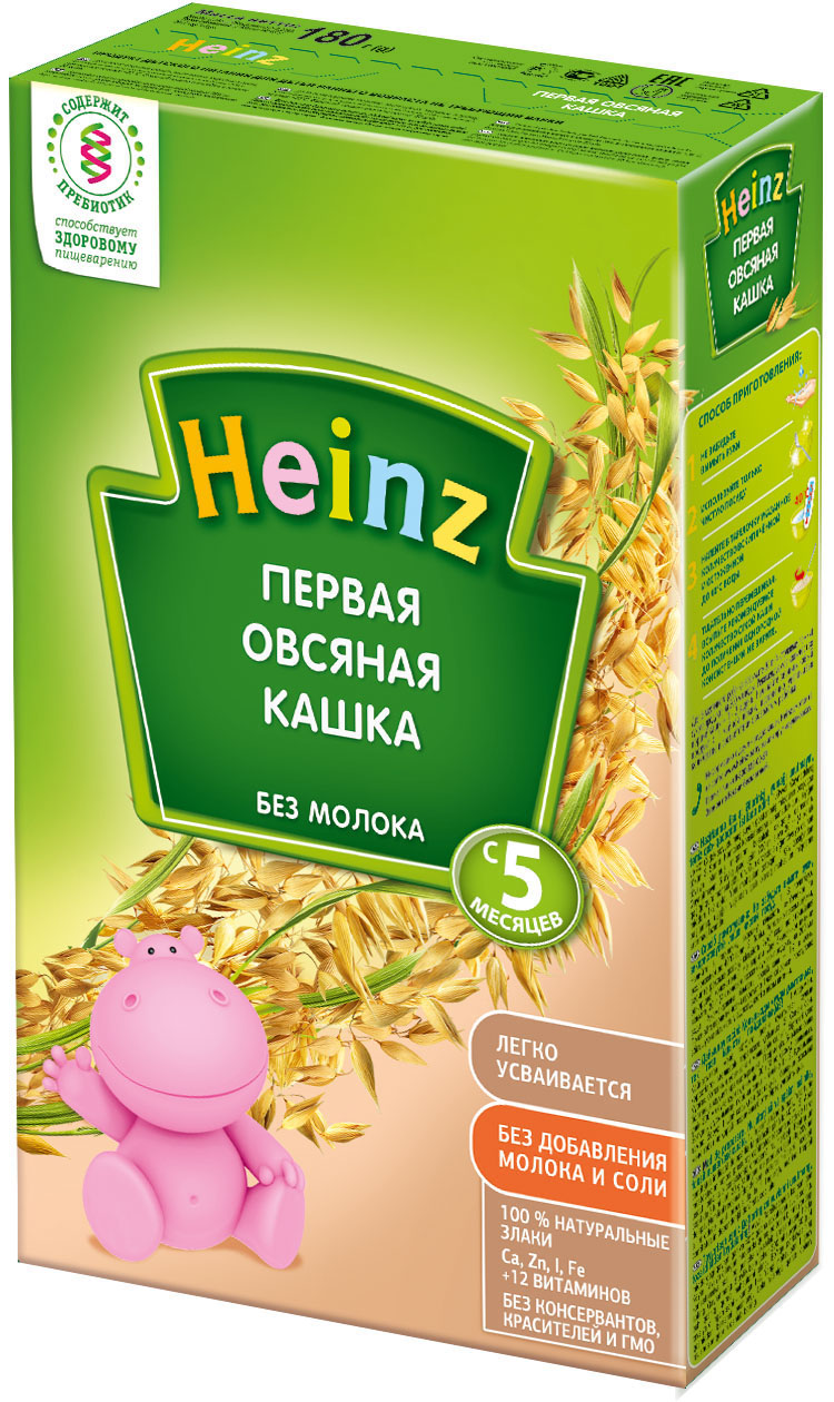 Каша Heinz Heinz Безмолочная овсяная (с 5 месяцев) 180 г heinz каша лакомка овсяная яблочко черника чёрная смородина с 5 мес