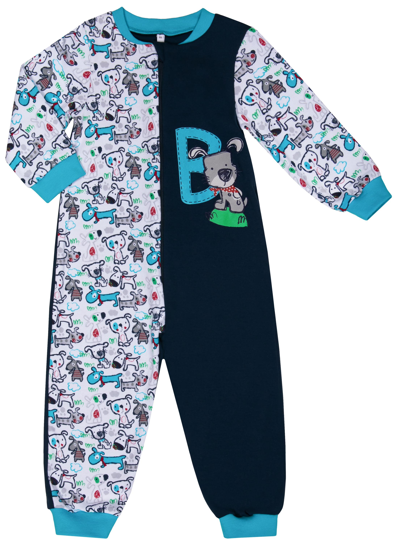 Купить Пижамы, Комбинезон для мальчика Barkito «Сновидения SS18», белый с рисунком и синий, Россия, Мужской