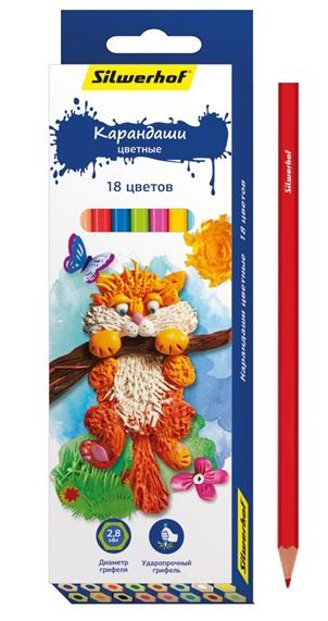Карандаши цветные Silwerhof Пластилиновая коллекция 18 цветов ручки и карандаши silwerhof 24 цветов
