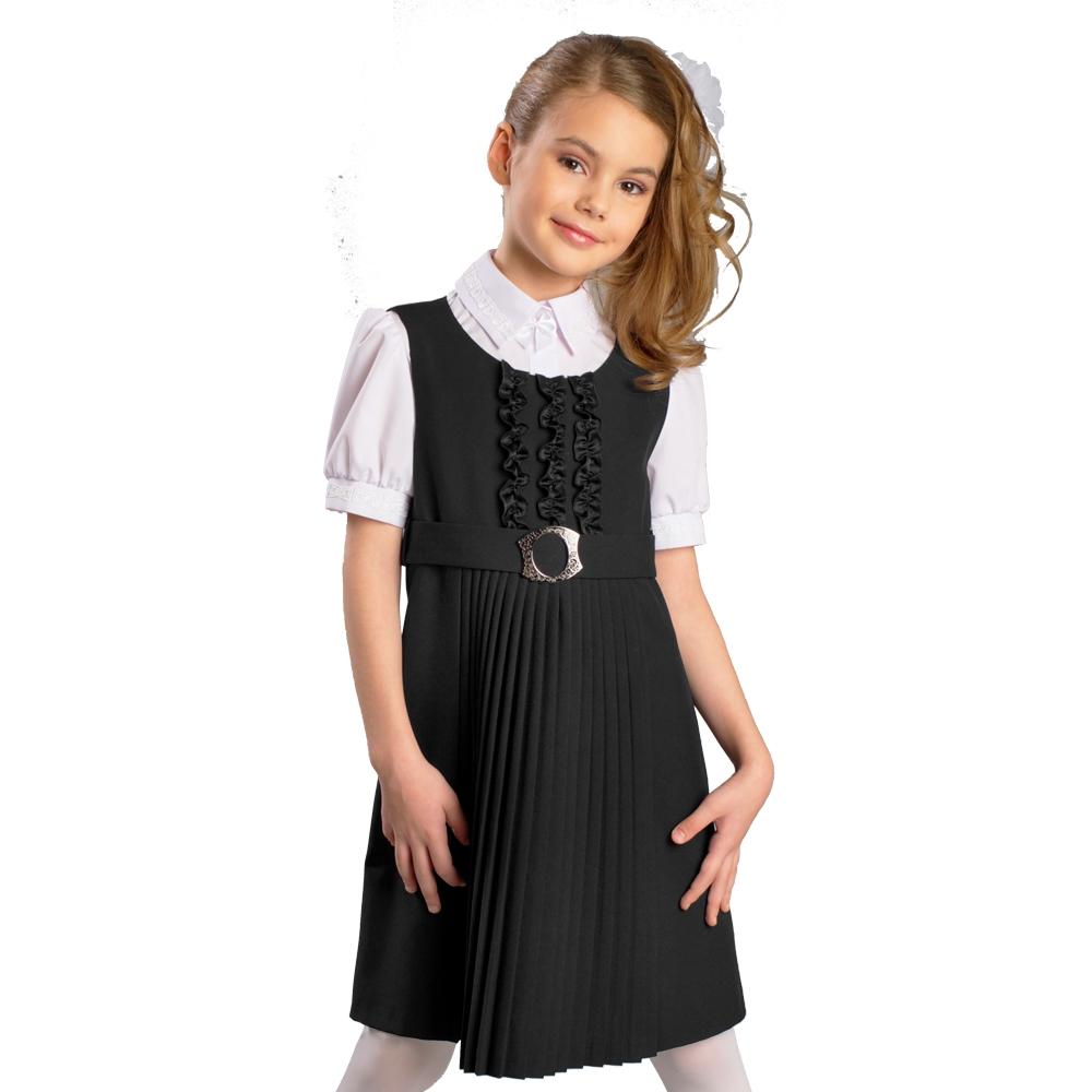 Форма для девочек Смена Сарафан школьный черный, Смена смена смена сарафан для школы черный