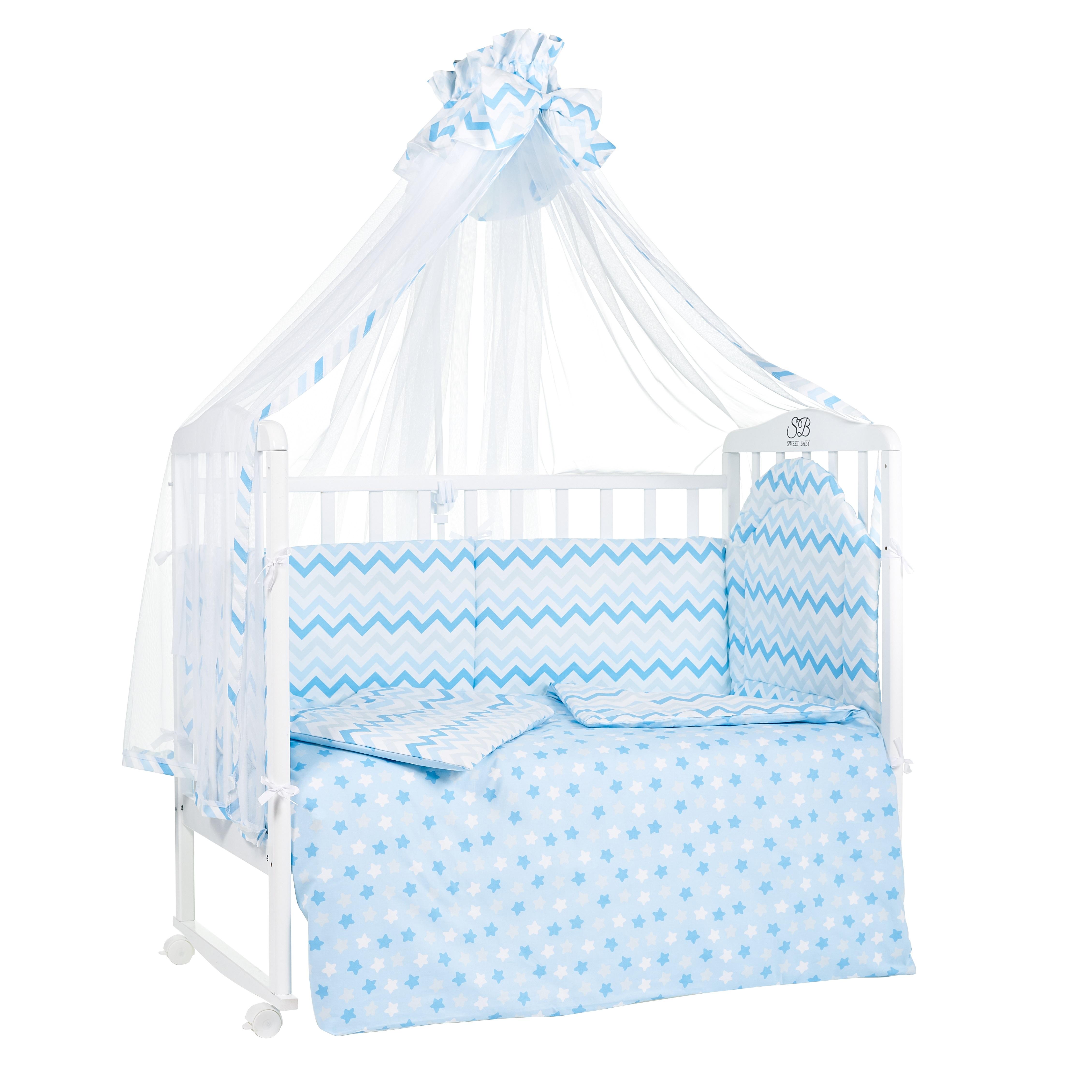 Постельные принадлежности Sweet Baby «Stelle Blu» 7 предметов голубой поплин комплект в кроватку sweet baby stelle rosa розовый 7 предметов поплин