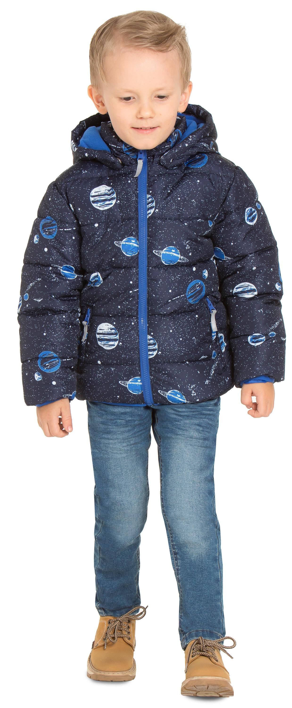 """Купить со скидкой Куртка осенняя для мальчика Barkito """"Путешествие в космос 2"""", темно-синяя с рисунком &quot"""