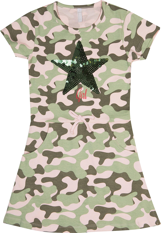 Купить Платья, Платье детское Barkito «Милитари», зеленое с рисунком, Индия, зелёный с рисунком, Женский