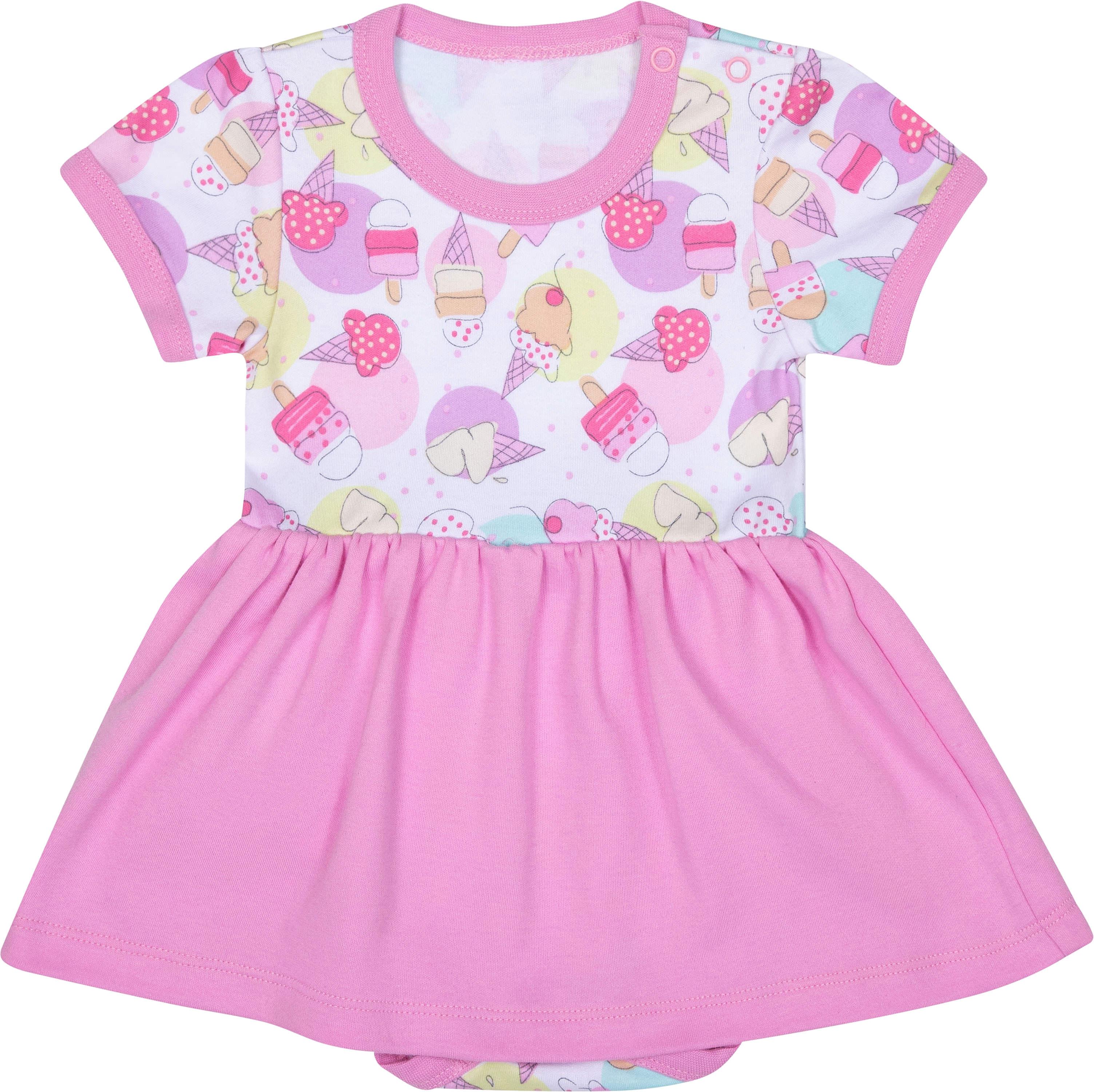Боди с коротким рукавом для девочки Barkito Маленькие сладости, белое с розовым