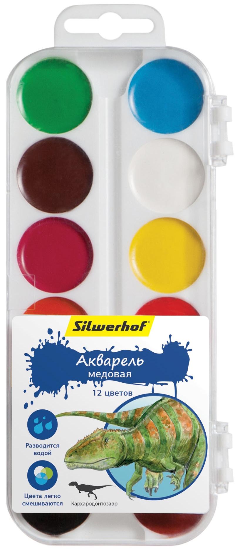Краски Silwerhof Медовая Динозавры 12 цветов centrum акварель медовая 12 цветов фиксики