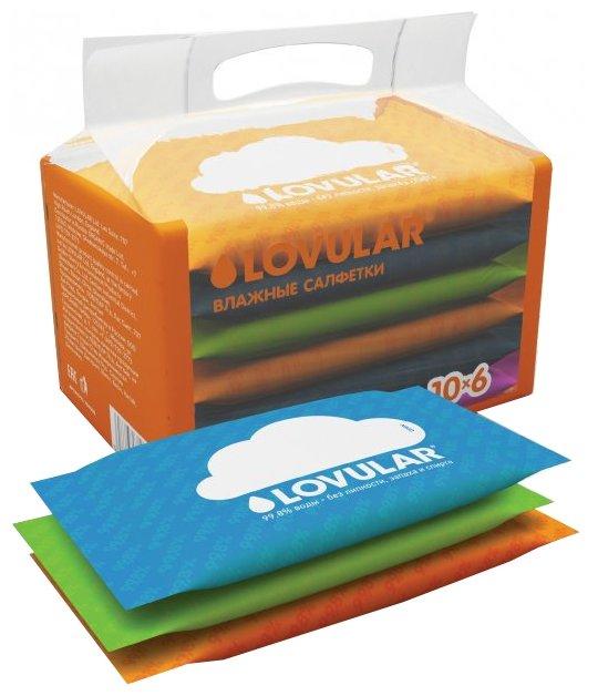 Прокладки и салфетки Lovular Влажные салфетки Lovular 6х10 шт. carefree carefree салфетки plus large fresh ароматизированные 36 шт