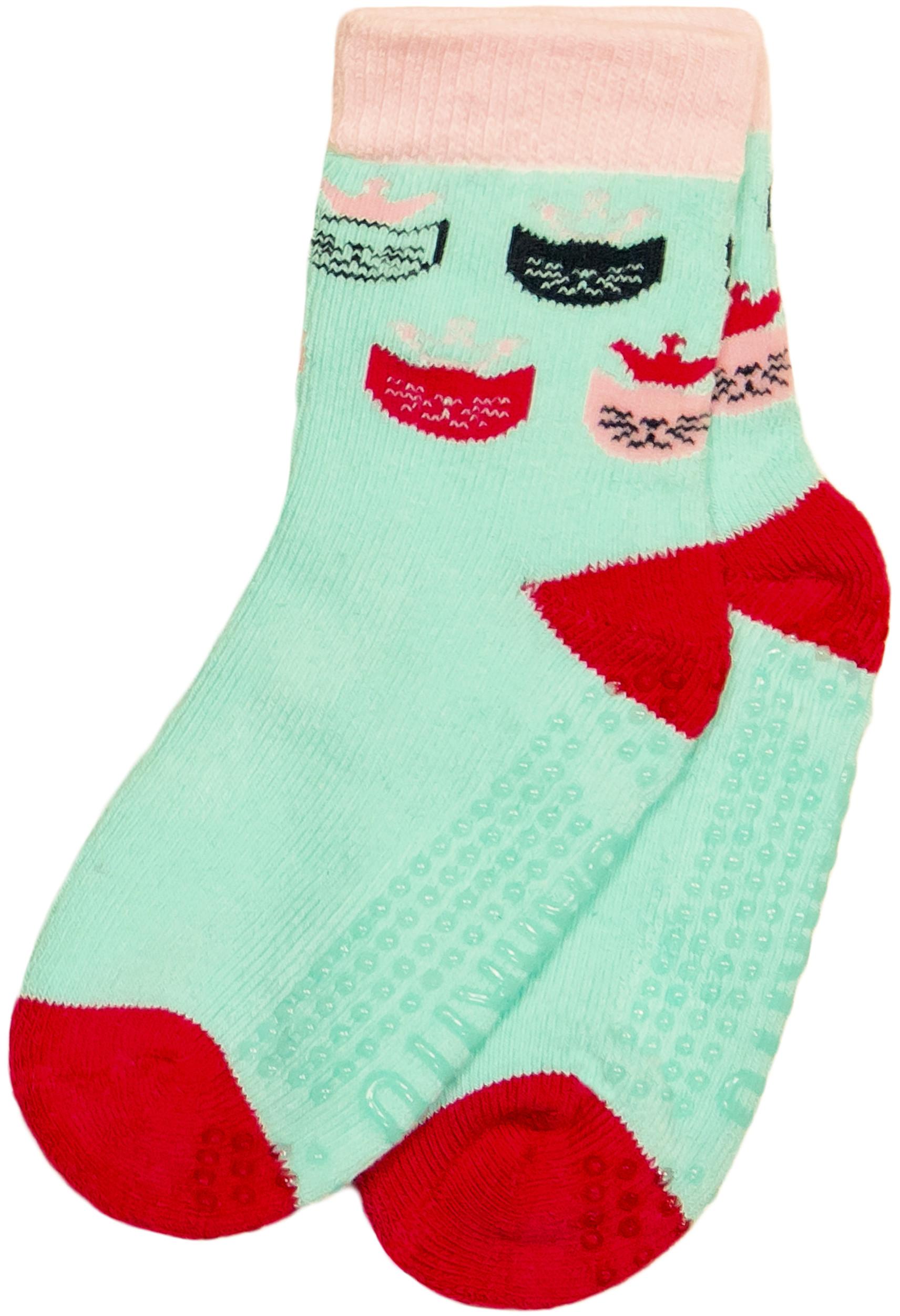 Носки Barkito Носки махровые антискользящие для девочки Barkito, голубые с рисунком ostin махровые носки с новогодним рисунком