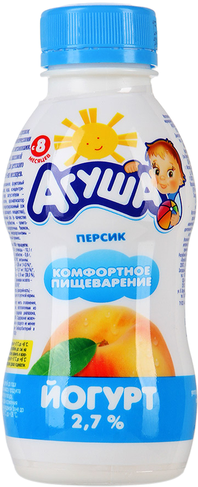Йогурт Агуша Агуша питьевой Персик 2,7% с 8 мес. 200 мл кефир агуша 3 2% с 8 мес 200 мл