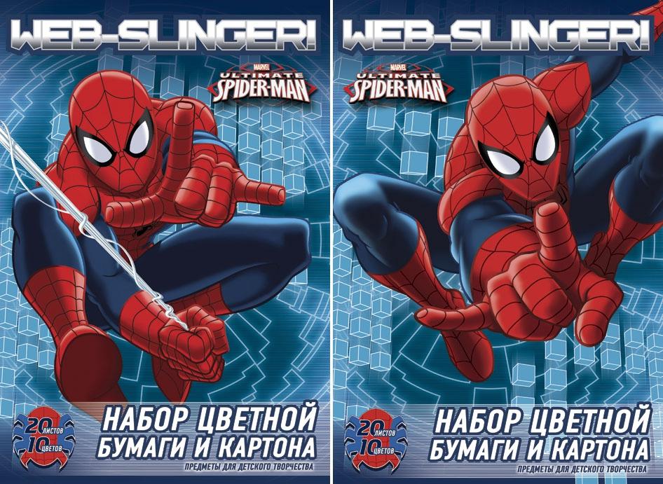 Цветная бумага и картон Spider-man Spider-man 10 цветов набор канцелярский spider man 2 пр