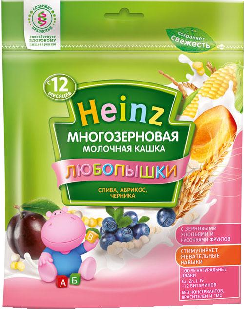 Каша Heinz Heinz Любопышки молочная многозерновая слива, абрикос, черника (с 12 месяцев) 200 г heinz каша многозерновая из пяти злаков с 6 месяцев 200 г