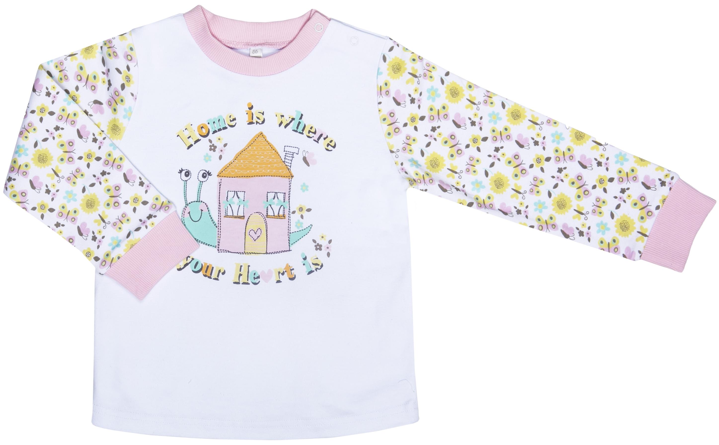 Купить Пижама для девочки, Любимый сад, 1шт., Barkito S17G1001U, Узбекистан, верх -белый с рисунком, низ -розовый, Женский