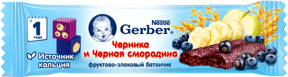 Десерты Gerber Gerber фруктово-злаковый с черникой и черной смородиной с 12 мес. 25 г gerber банапельсин звездочки 50 г