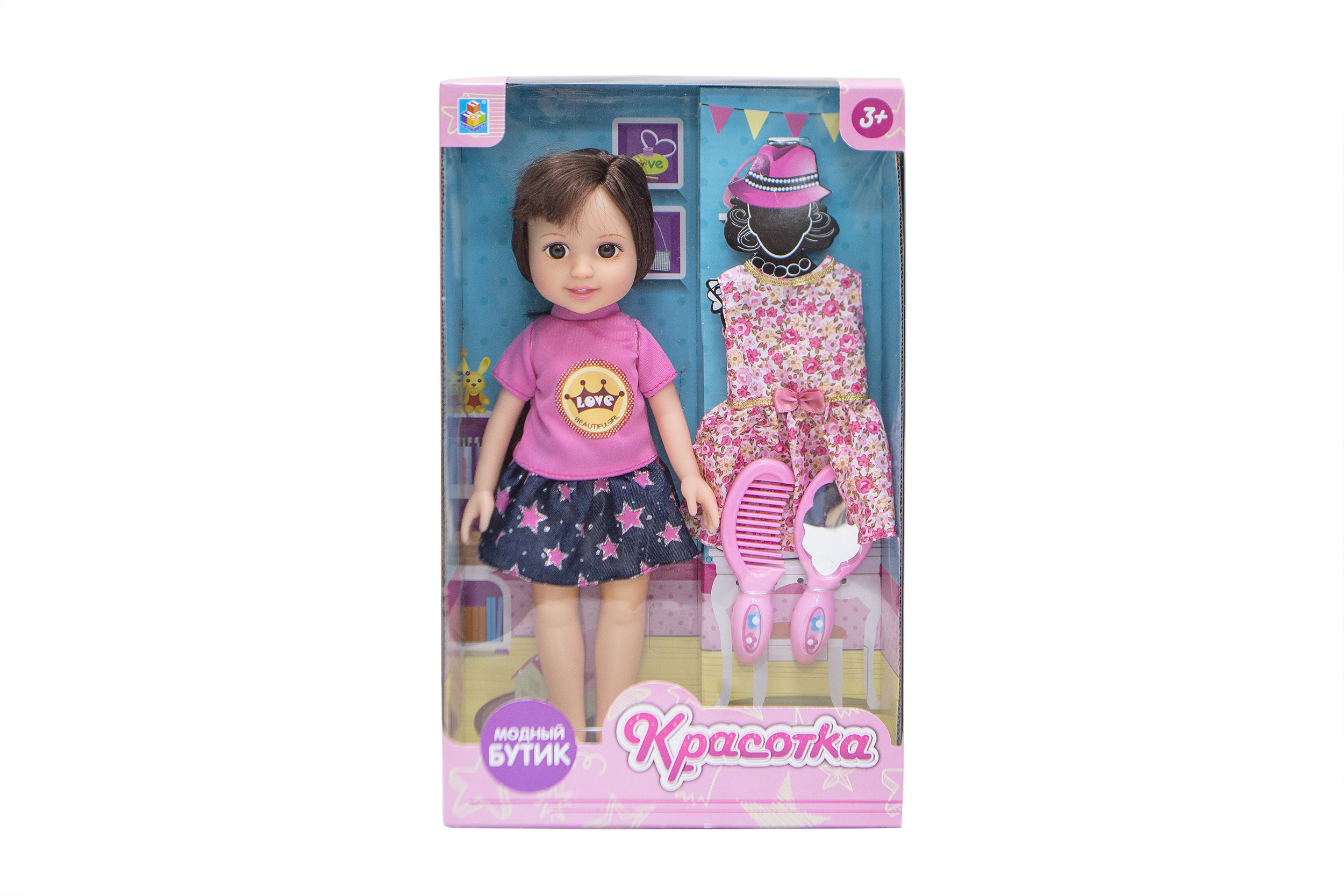 Классические куклы 1toy Кукла 1Toy «Красотка. Модный Бутик» брюнетка с аксесс. 1toy красотка белый