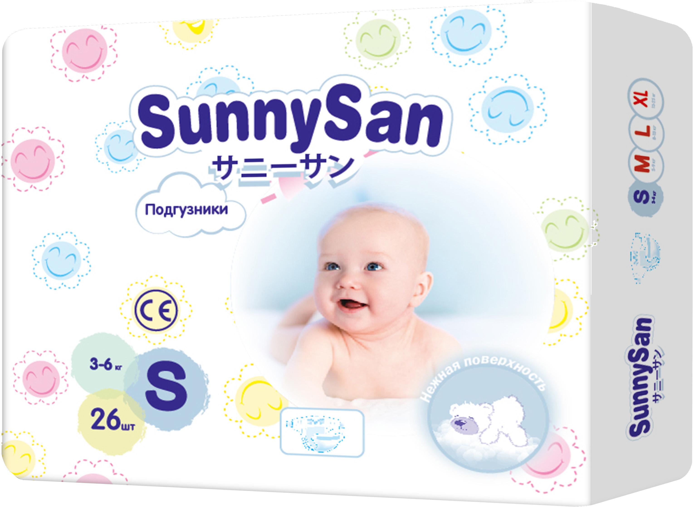 Подгузники SunnySan S (3 - 6 кг) 26 шт. цена