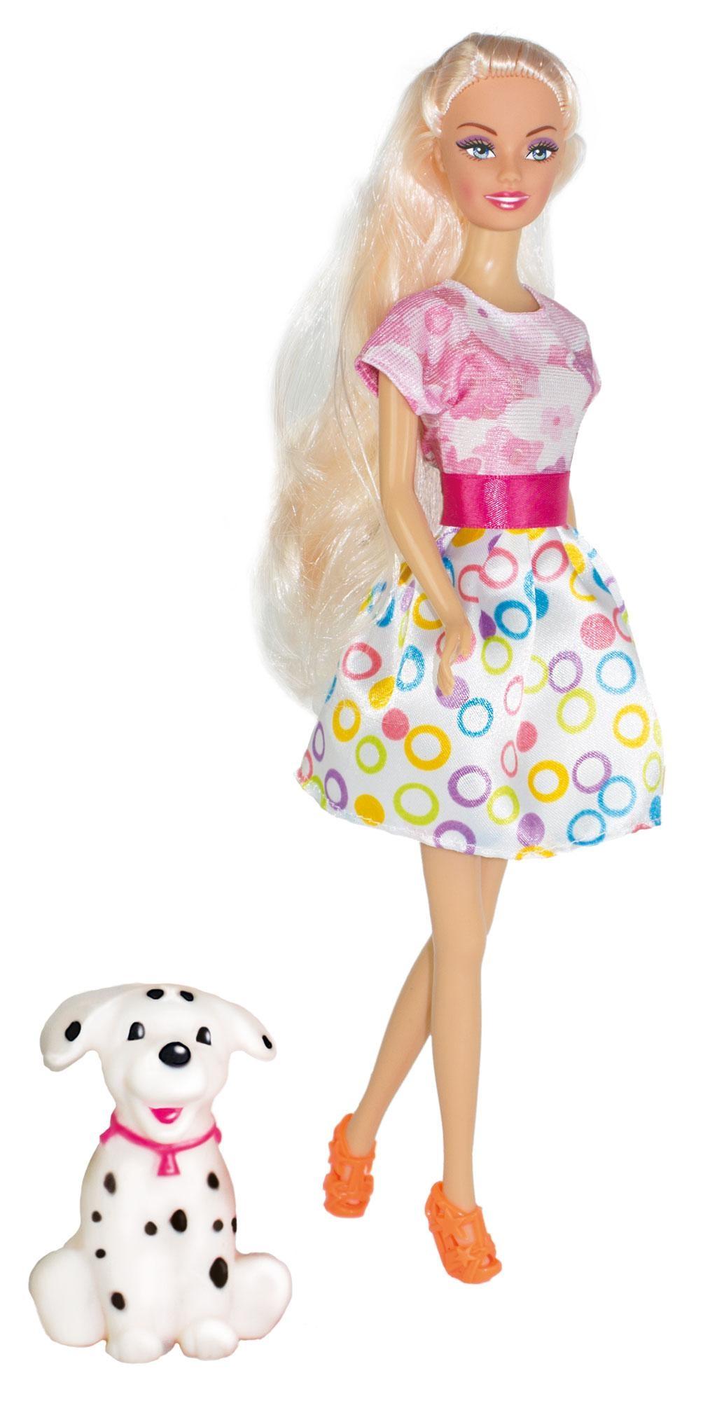 Кукла ToysLab Ася Прогулка с щенком Блондинка в розово-белом платье, 28 см, 35058 набор кукла ася джинсовая коллекция 28 см дизайн 1 toyslab ася