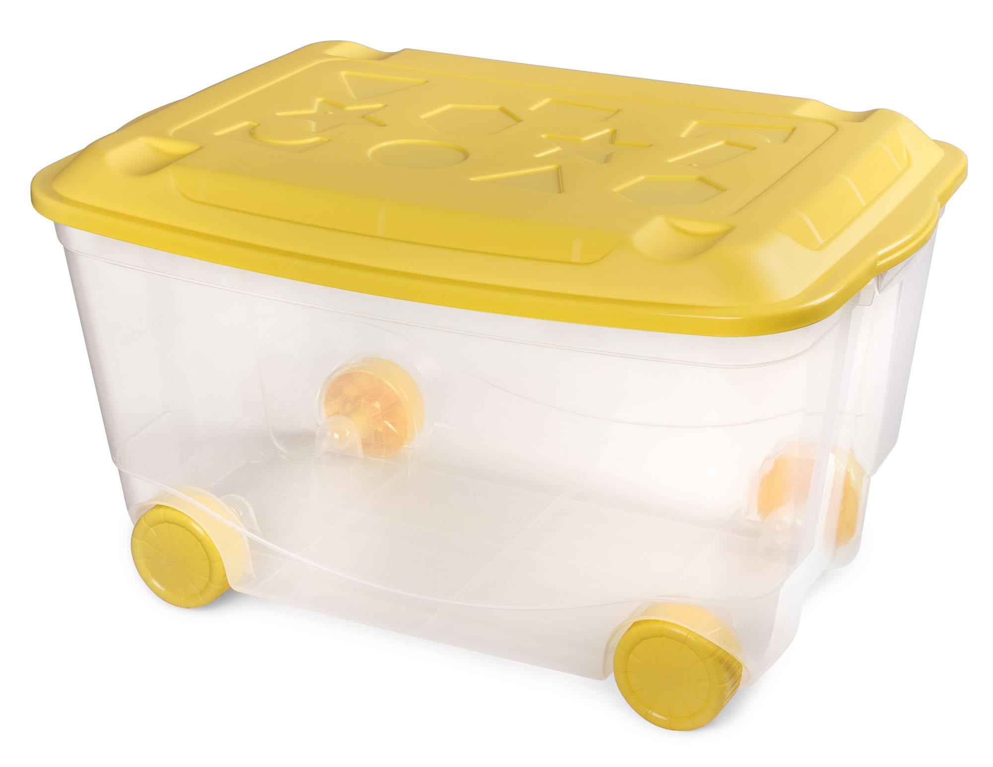 Ящик для игрушек Пластишка На колесах 50 л, желтый ящик для игрушек kidkraft ящик для игрушек остин бежевый