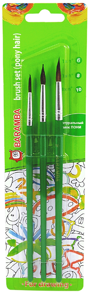 Набор кисточек Baramba Пони № 6/8/10 в блистере кисти набор 5шт пони n1 n2 n3 n4 n5