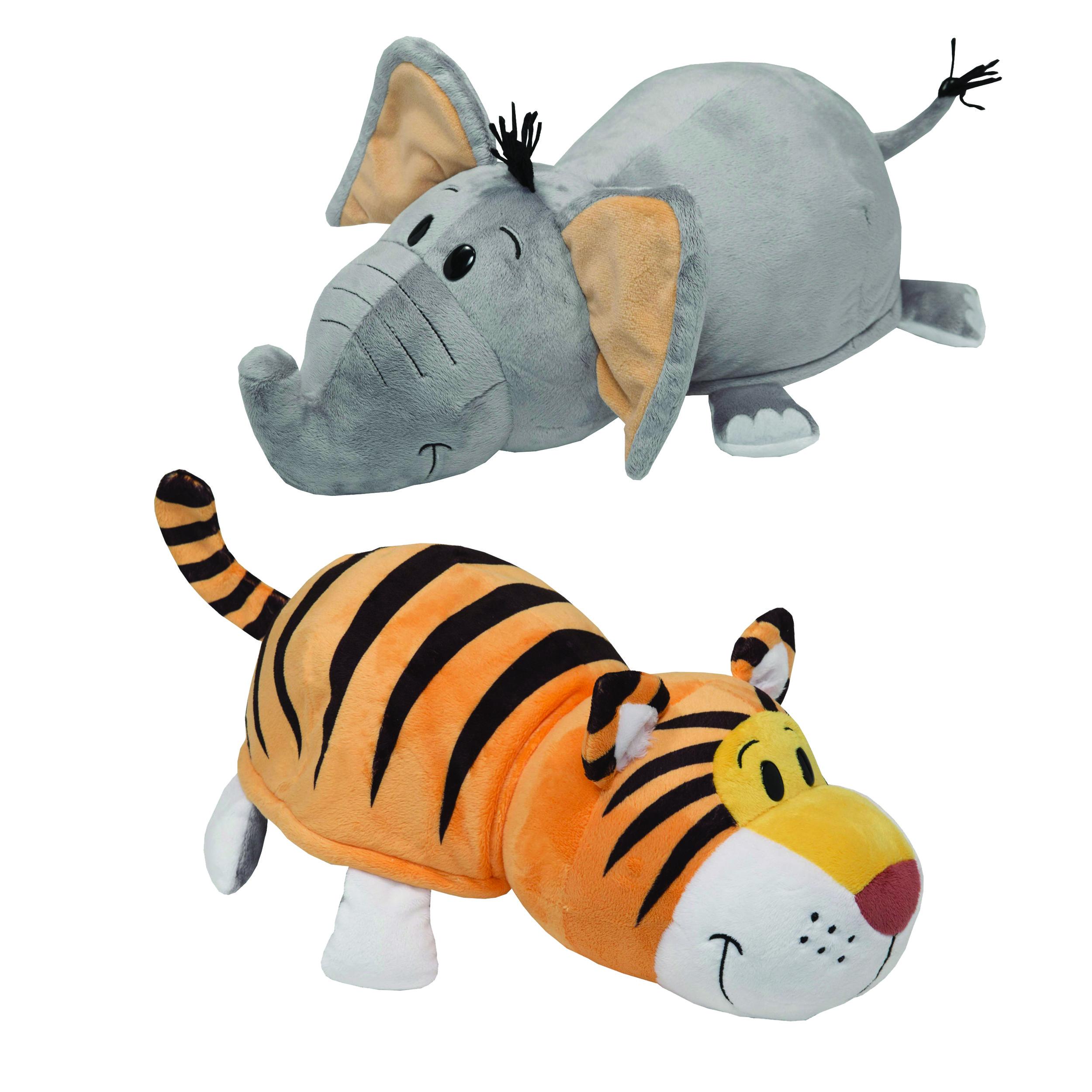 Мягкие игрушки 1toy Вывернушка. Слон-Тигр игрушка 1toy вывернушка 2в1 тигр слон т10876