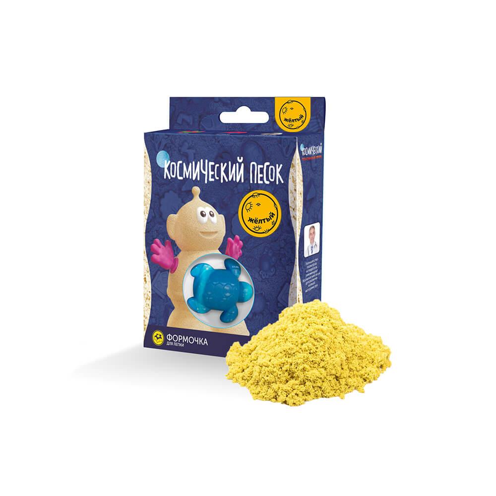 Купить Кинетический песок, Желтый 150 г с формочкой, Космический песок, Россия, желтый