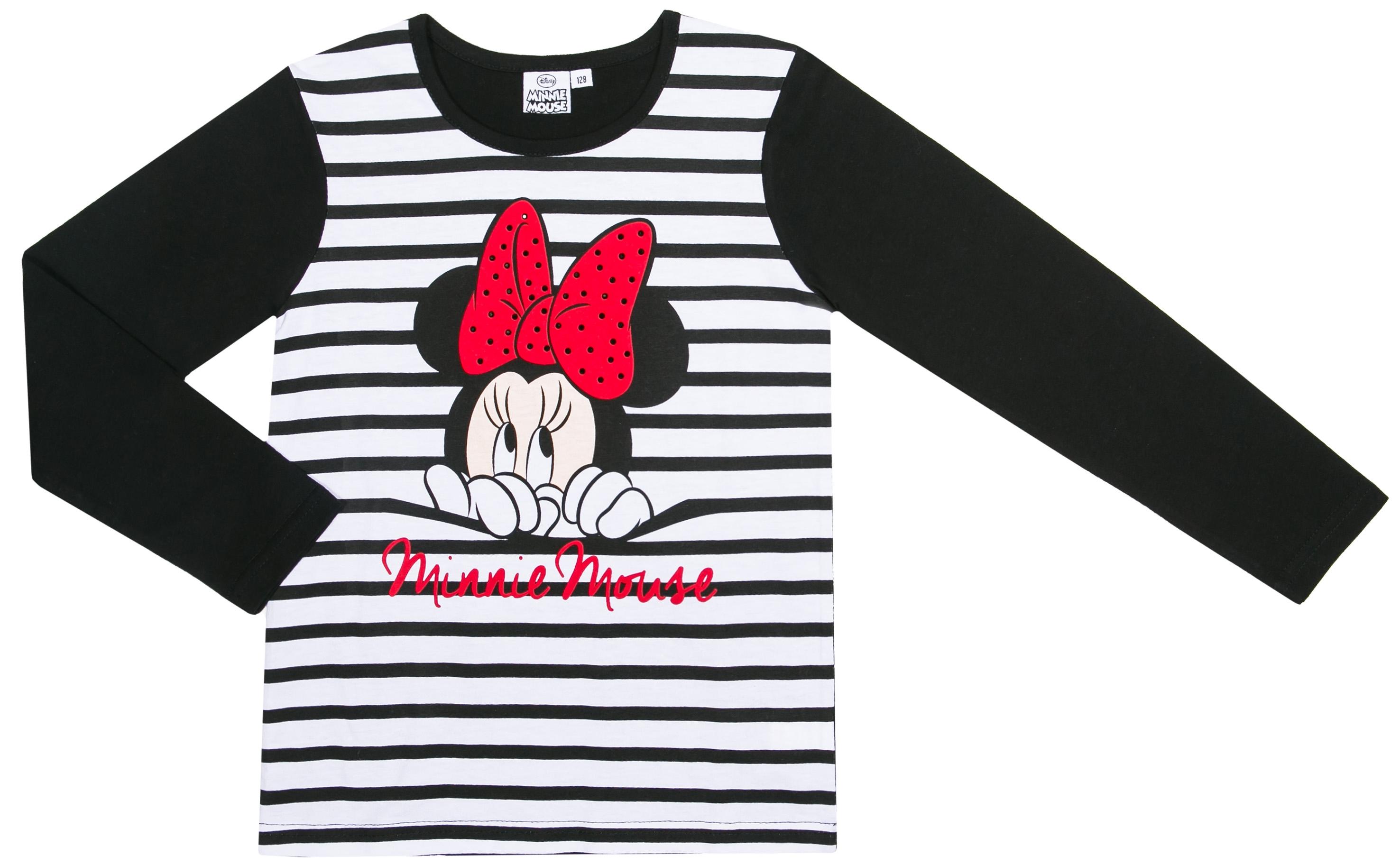 Футболка с длинным рукавом для девочки Disney minnie Minnie Mouse черная keeeper okt матрас для пеленания disney minnie mouse розовый