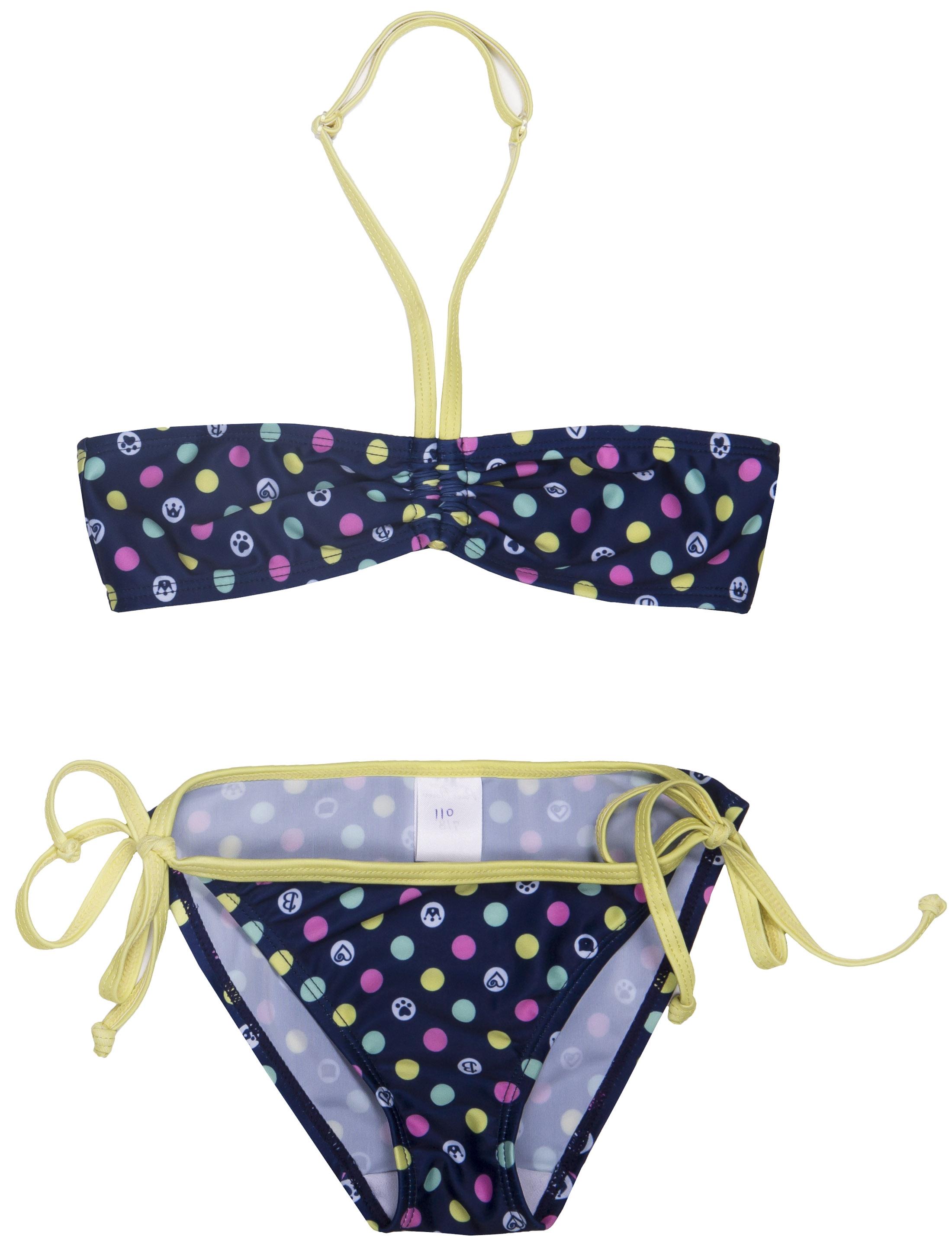 Купить со скидкой Костюм купальный модель «бикини» для девочки Barkito,синий с рисунком «горошек»