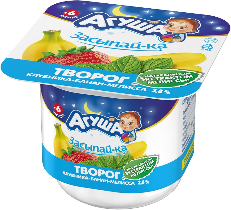 Молочная продукция Агуша Агуша «Засыпай-ка» Клубника, банан и мелисса 3,8% с 6 мес. 100 г молочная продукция агуша молоко стерилизованное с пребиотиком 2 5% 200 мл