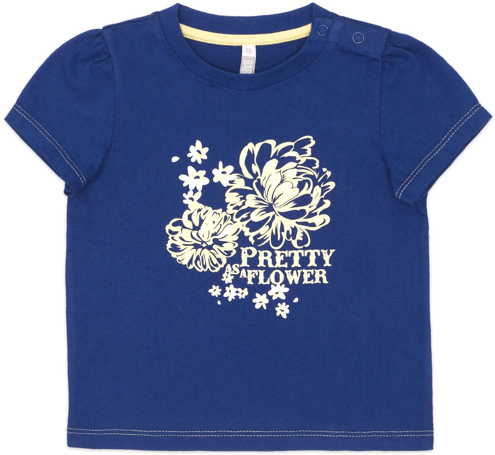 Купить Футболки, Футболка с коротким рукавом для девочки Barkito Цветочное лето синяя, Узбекистан, синий, Женский