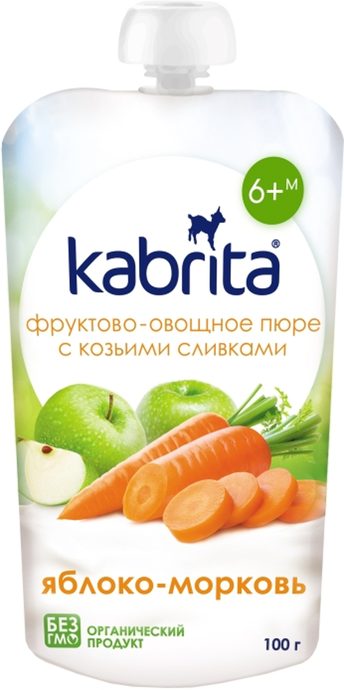 Пюре Kabrita С козьими сливками «Яблоко-морковь» с 6 мес. 100 г цена