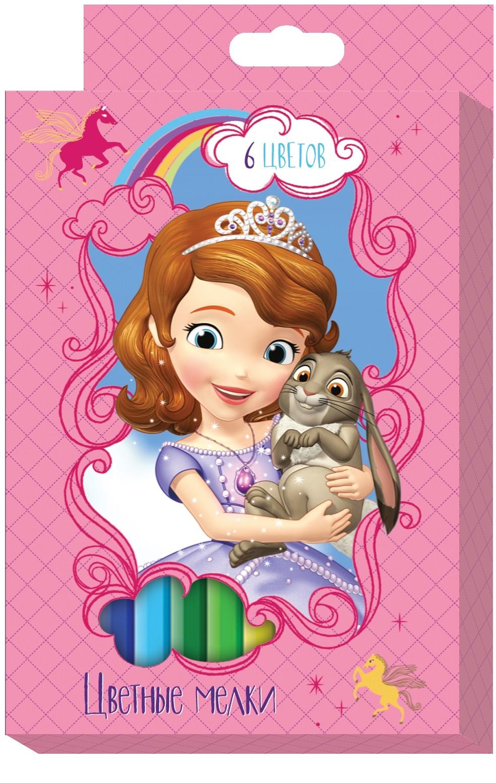 Мелки Disney Набор цветных мелков Disney «София» 6 цв. набор толстых цветных карандашей disney софия 6 цветов