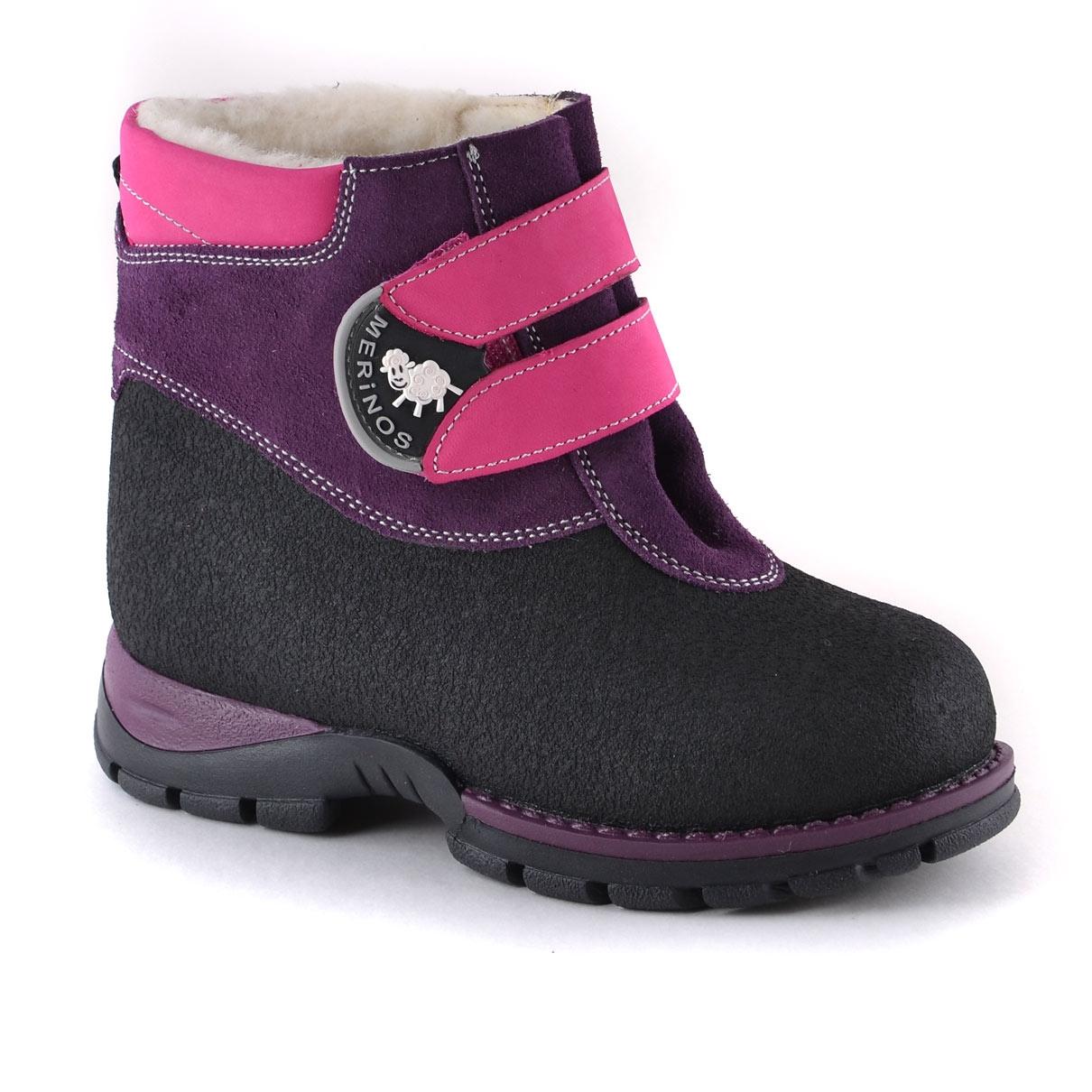 Купить со скидкой Ботинки дошкольно-школьные для девочки Детский Скороход, фиолетово-розовые с черной отделкой