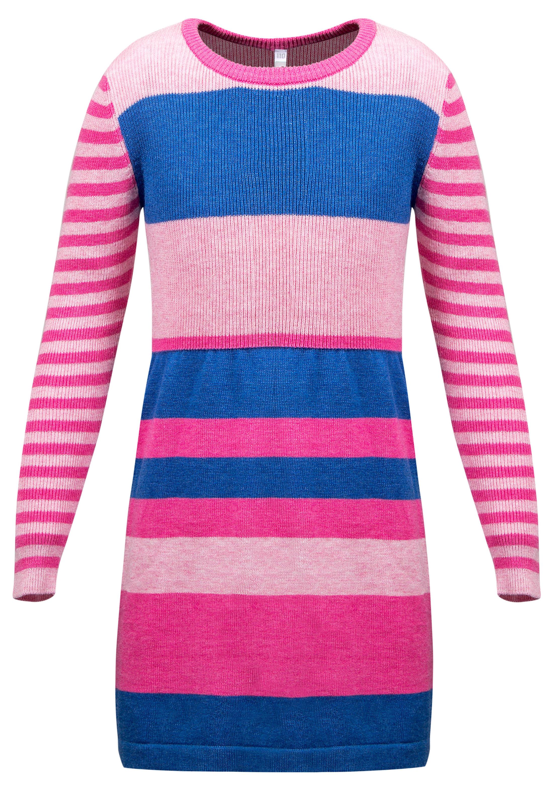 Платье детское Barkito Мелодия, розовое с рисунком в полоску