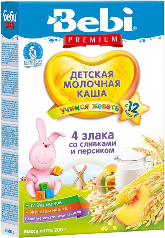 Молочные Bebi Каша молочная Bebi Premium «Учимся жевать» 4 злака со сливками и персиком с 12 мес. 200г мишура новогодняя sima land цвет серебристый желтый диаметр 4 см длина 200 см 702624