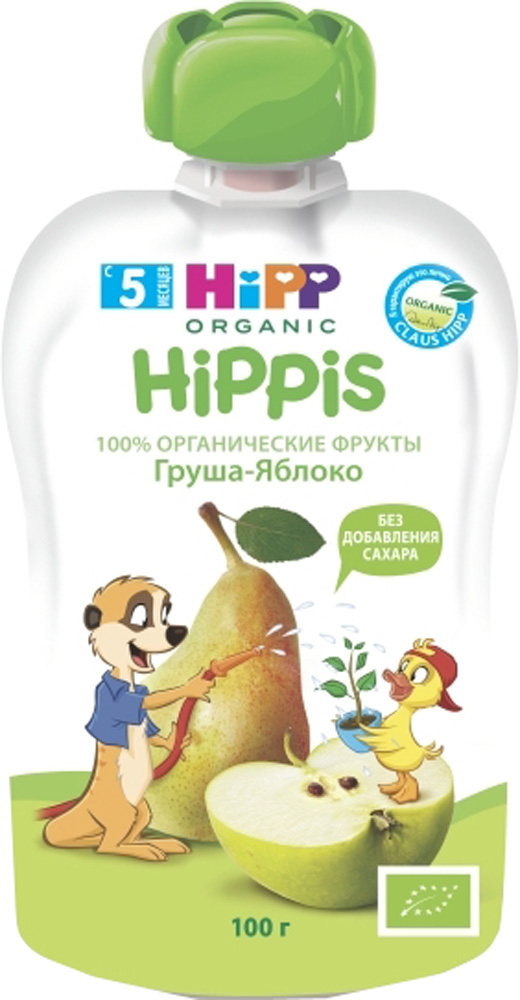 Фруктовое HIPP Пюре Hipp «Hippis» Груша, Яблоко с 5 мес. 100 г (пауч) hipp пюре груша яблоко с 5 месяцев 100 г