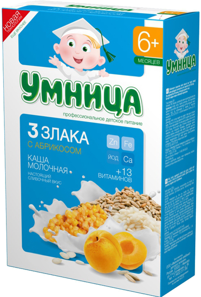 Каша Умница Умница Молочная 3 злака с абрикосом (с 6 месяцев) 200 г каша молочная nestle помогайка йогуртная 3 злака с грушей и яблоком с 8 мес 200 г