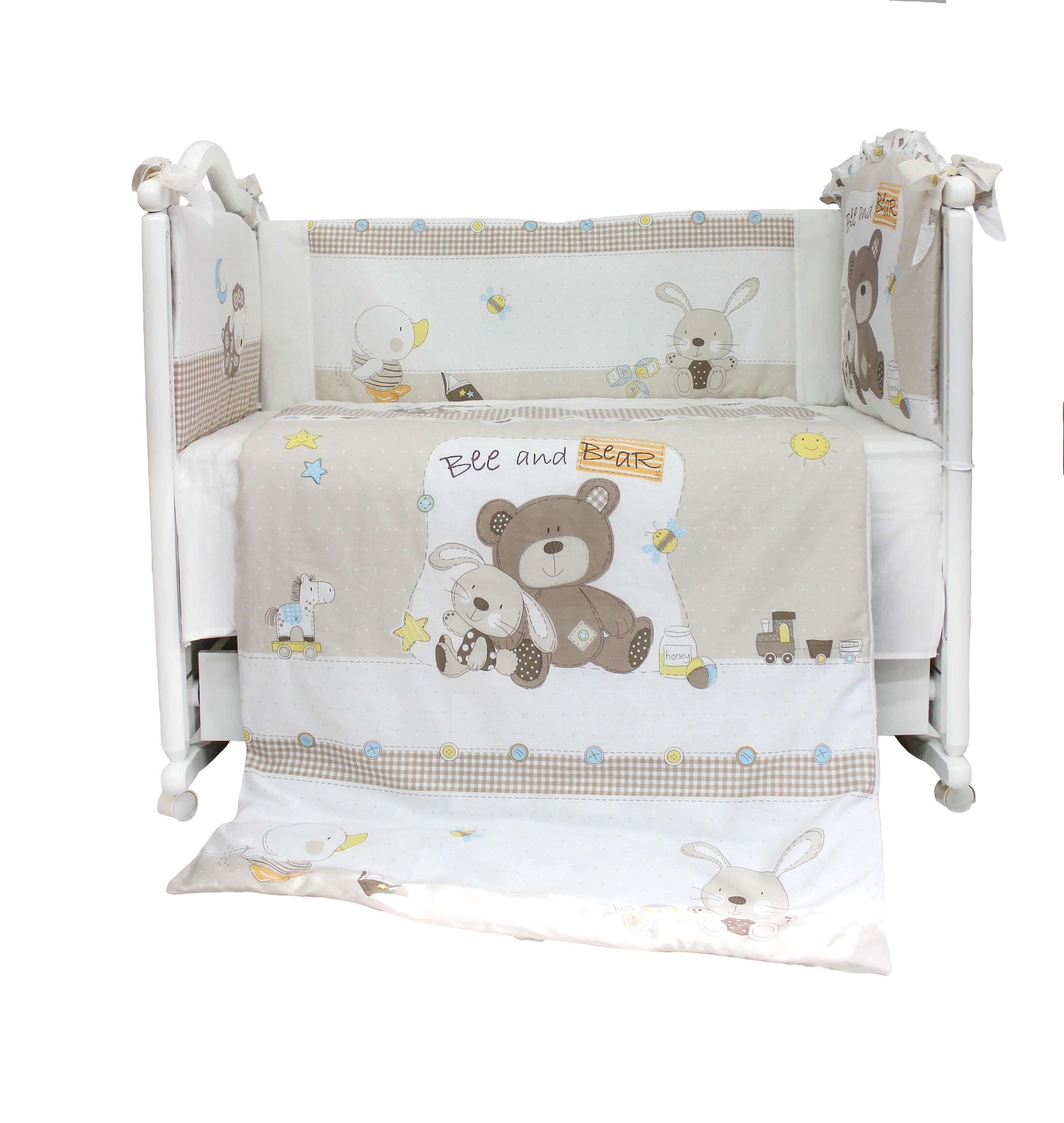 Комплект в кроватку L'Abeille Мишка с зайкой 6 пр.